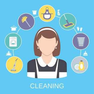 cleaning house maid logo